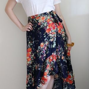 Anthropologie Floral Wrap Skirt